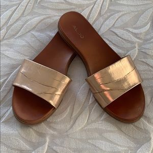 Aldo Metallic Rose Gold Slides